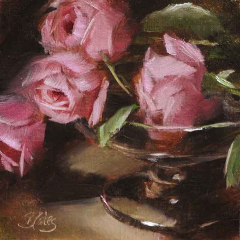 """Heirloom Pinks"" original fine art by Pamela Blaies"