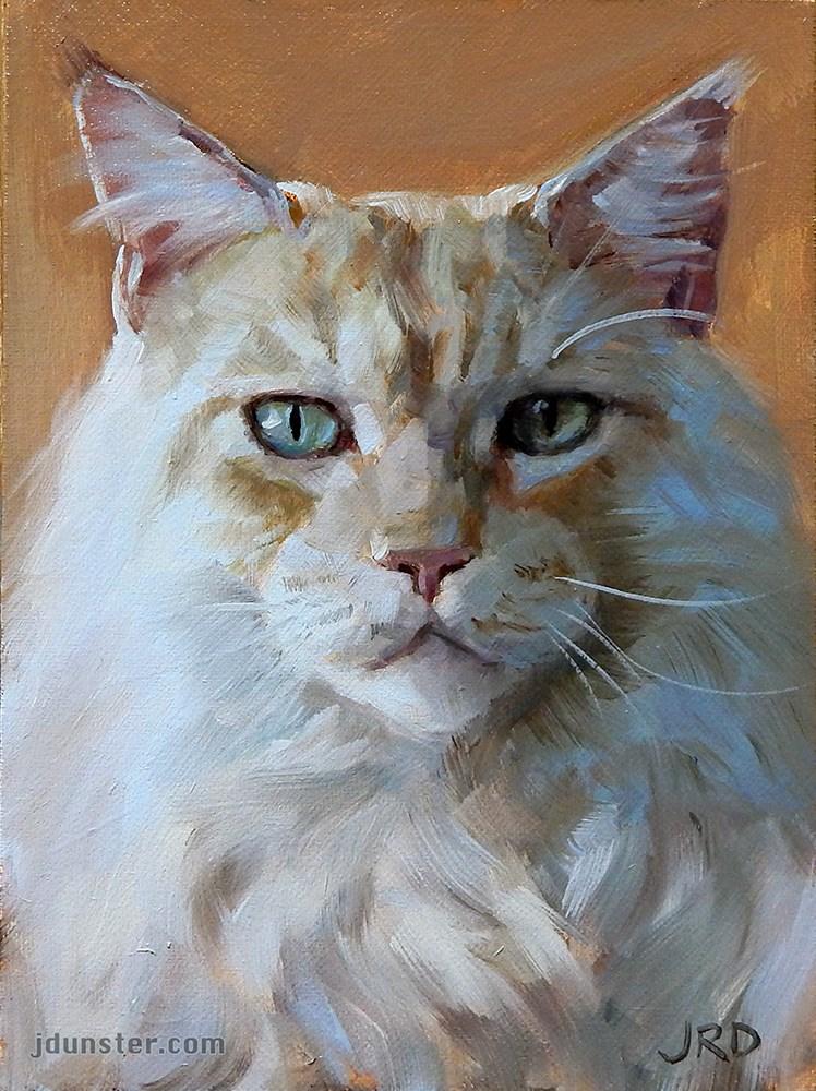 """Big White Cat"" original fine art by J. Dunster"