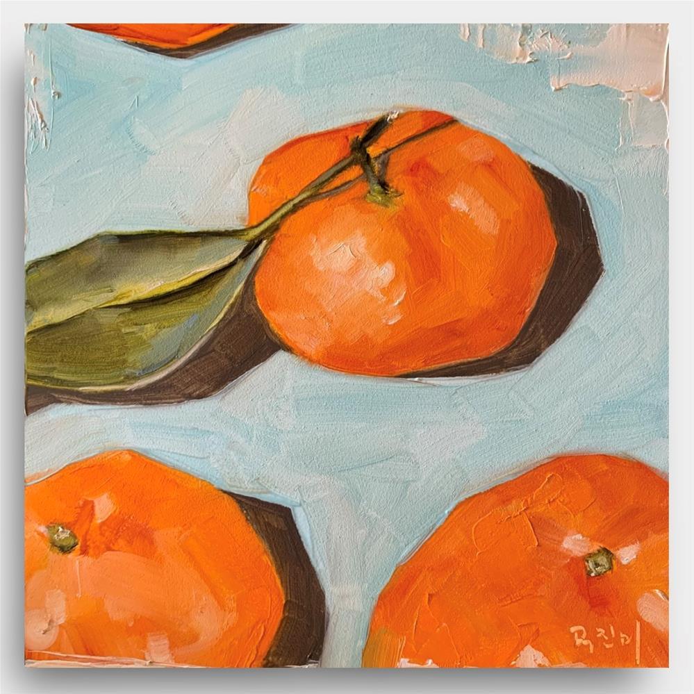 """842 Tangential Tangerines"" original fine art by Jenny Doh"