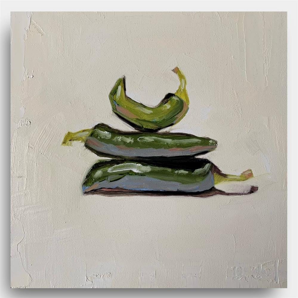 """""""864 Three Pretty Chilis"""" original fine art by Jenny Doh"""
