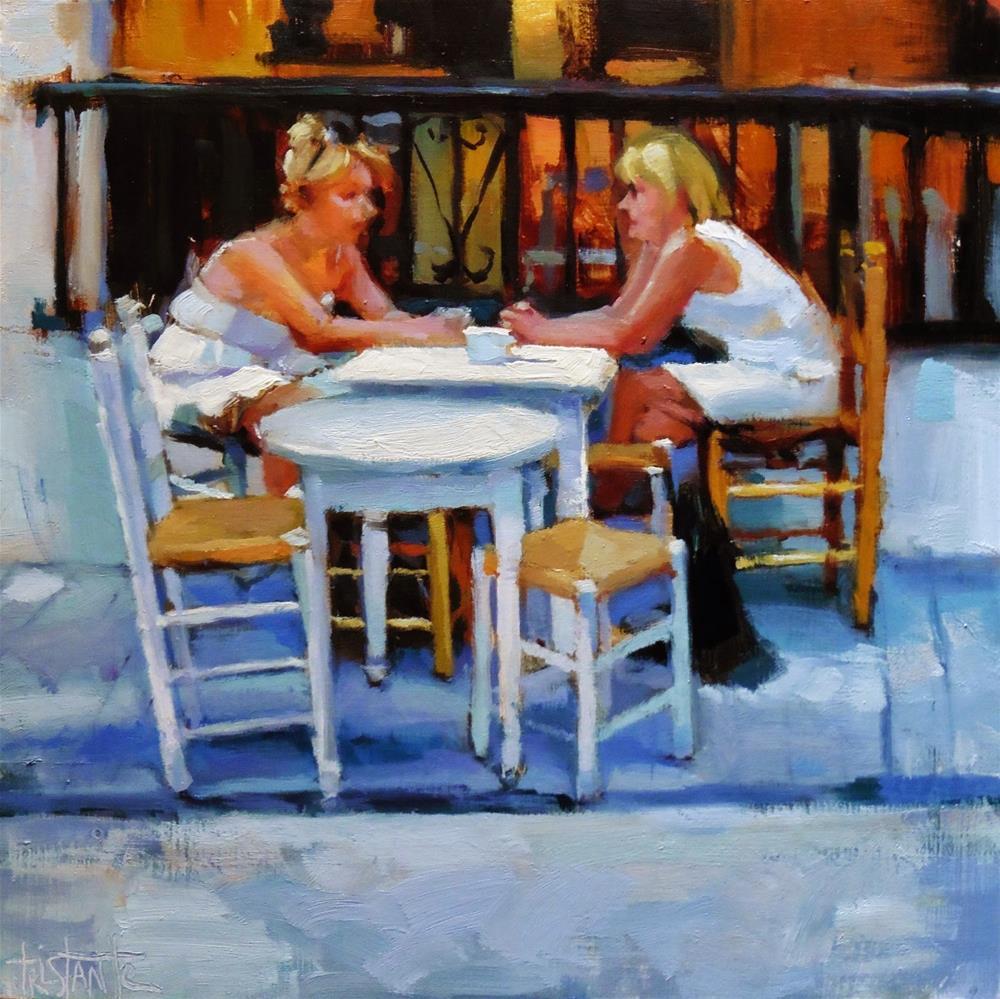 """Meeting in white"" original fine art by Víctor Tristante"