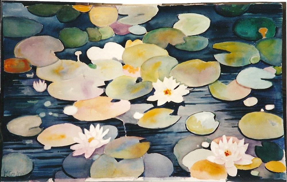 """""""Water lilies"""" original fine art by meribeth coyne"""