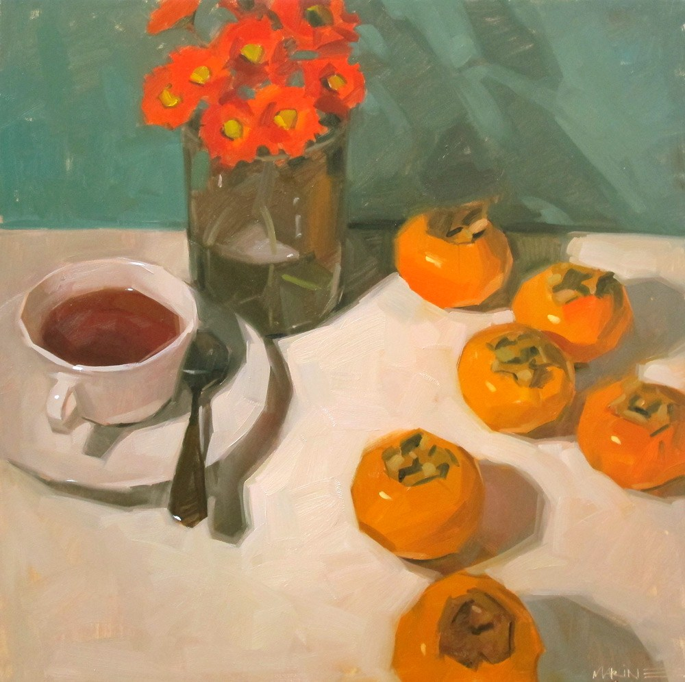 """Tea with Persimmons"" original fine art by Carol Marine"