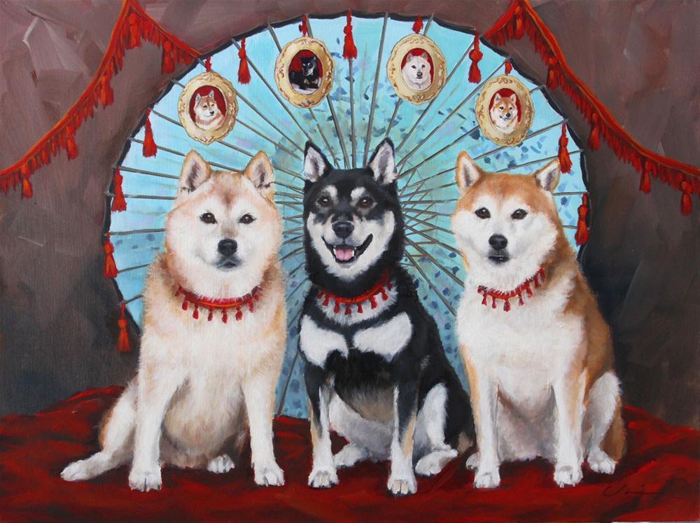 """""""Three Shibas Commission"""" original fine art by Clair Hartmann"""