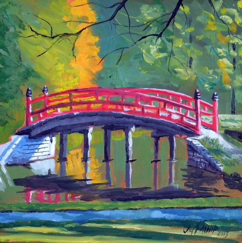 """""""Red Bridge, Japanese Garden"""" original fine art by Jeff Atnip"""