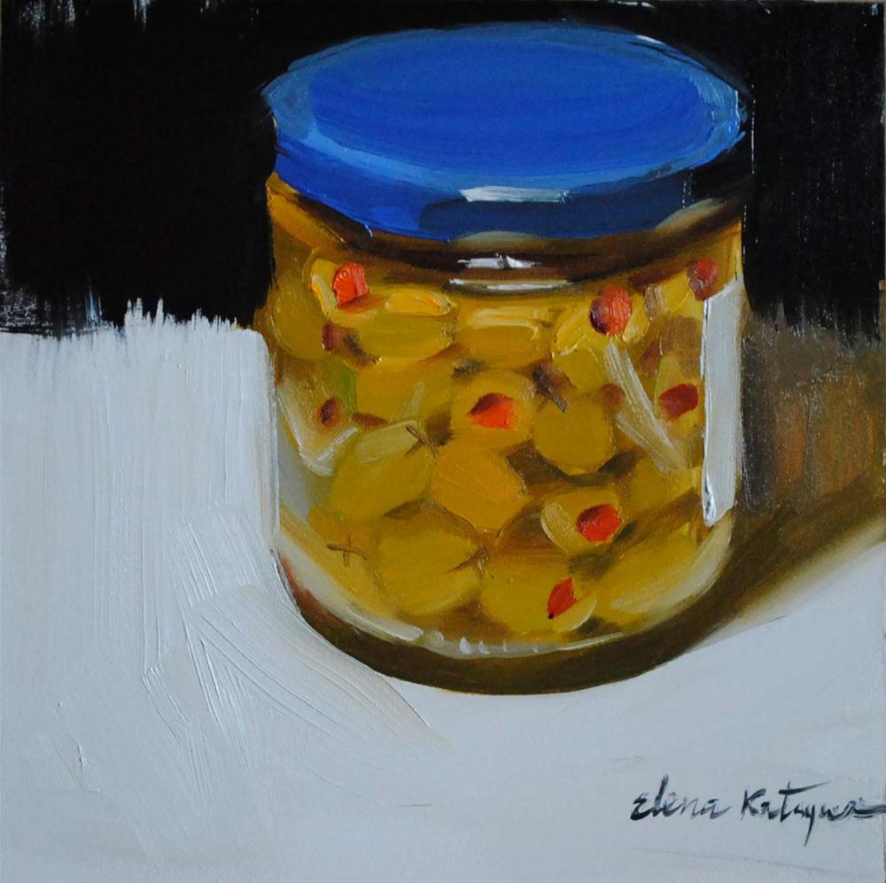 """Jar of Olives"" original fine art by Elena Katsyura"