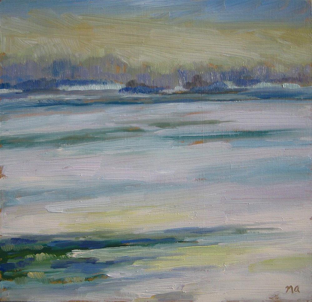 """Fog and Ice on the South Saskatchewan"" original fine art by Nicki Ault"