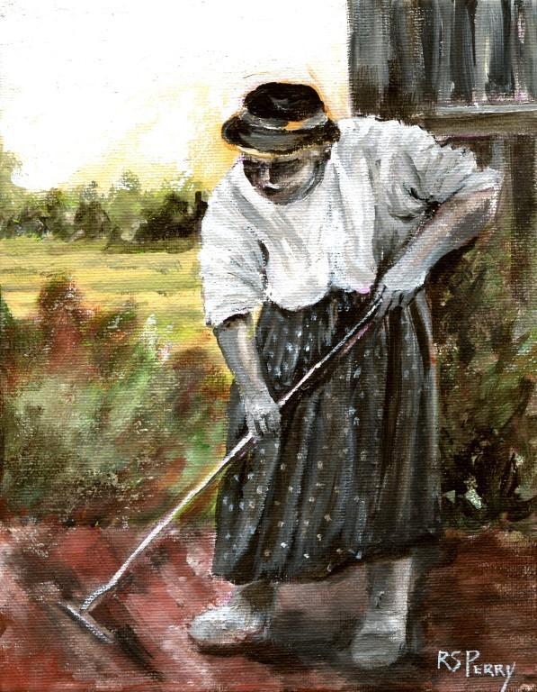 """Maum Celie Working in her Garden "" original fine art by R. S. Perry"