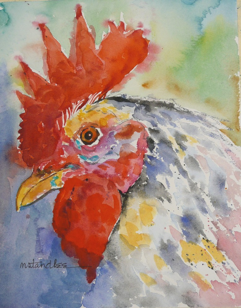 """Rooster #1 of 5 (11080)"" original fine art by Nancy Standlee"
