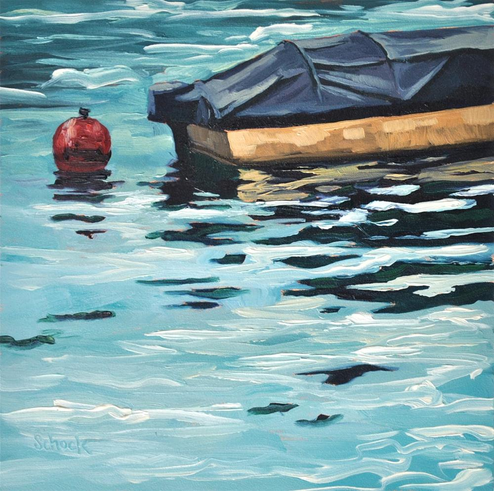"""Boat in Lucerne - 6x6"" original fine art by Sharon Schock"