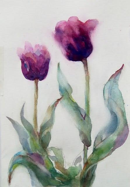 """Exercise/Purple"" original fine art by Mitsuru Cope"