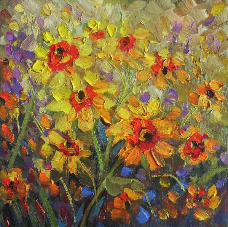 """#129  SPRING YELLOWS"" original fine art by Dee Sanchez"