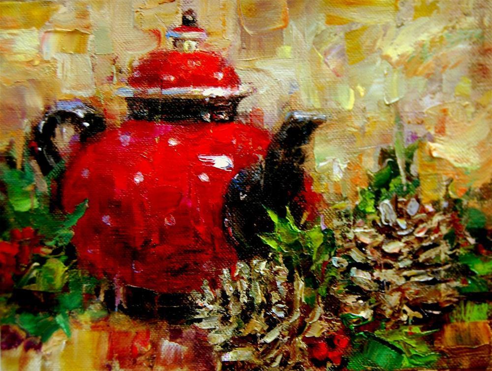 """""""Tea Pot, Pine Cones and Workshop Images"""" original fine art by Julie Ford Oliver"""