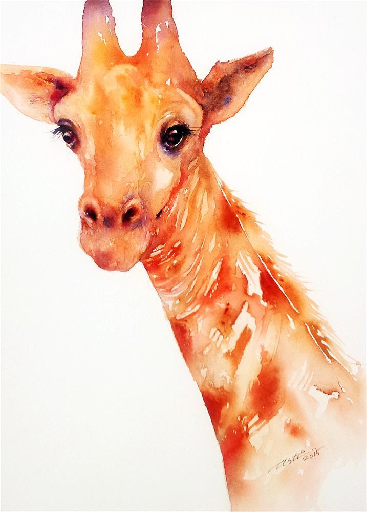 """""""The Gentle Giraffe"""" original fine art by Arti Chauhan"""