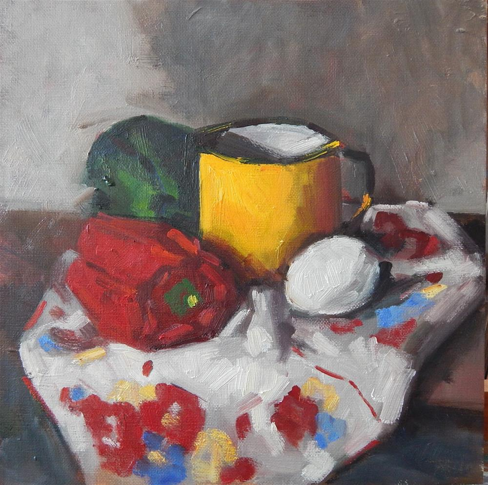 """""""Still Life in Red, Green and Yellow"""" original fine art by Megan Schembre"""