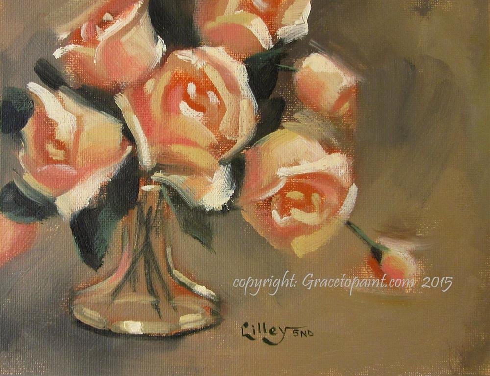 """Salmon Roses"" original fine art by Maresa Lilley"
