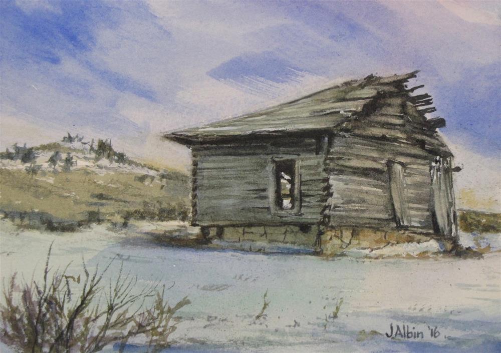 """The Bachelor's Half Cabin"" original fine art by Jane Albin"