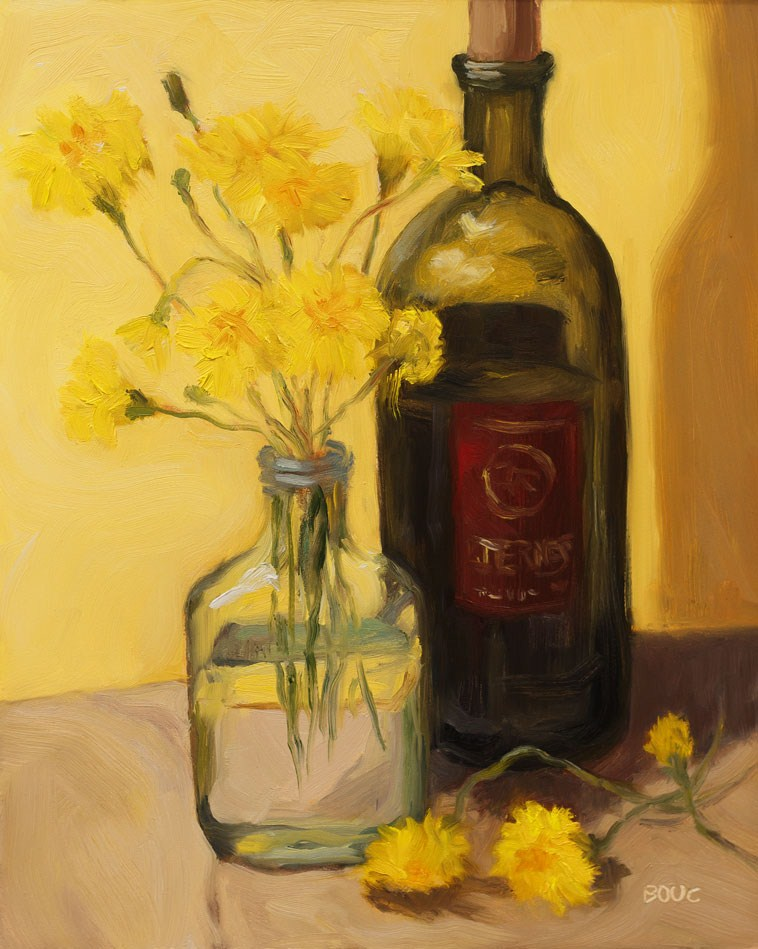 """Dandelions, Cognac and Spanish Wine"" original fine art by Jana Bouc"