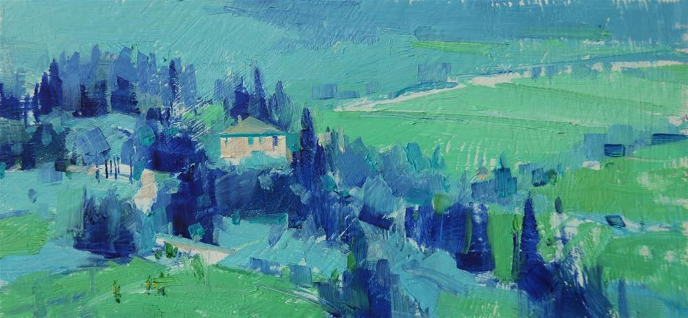 """Tuscany in Blue"" original fine art by Qiang Huang"