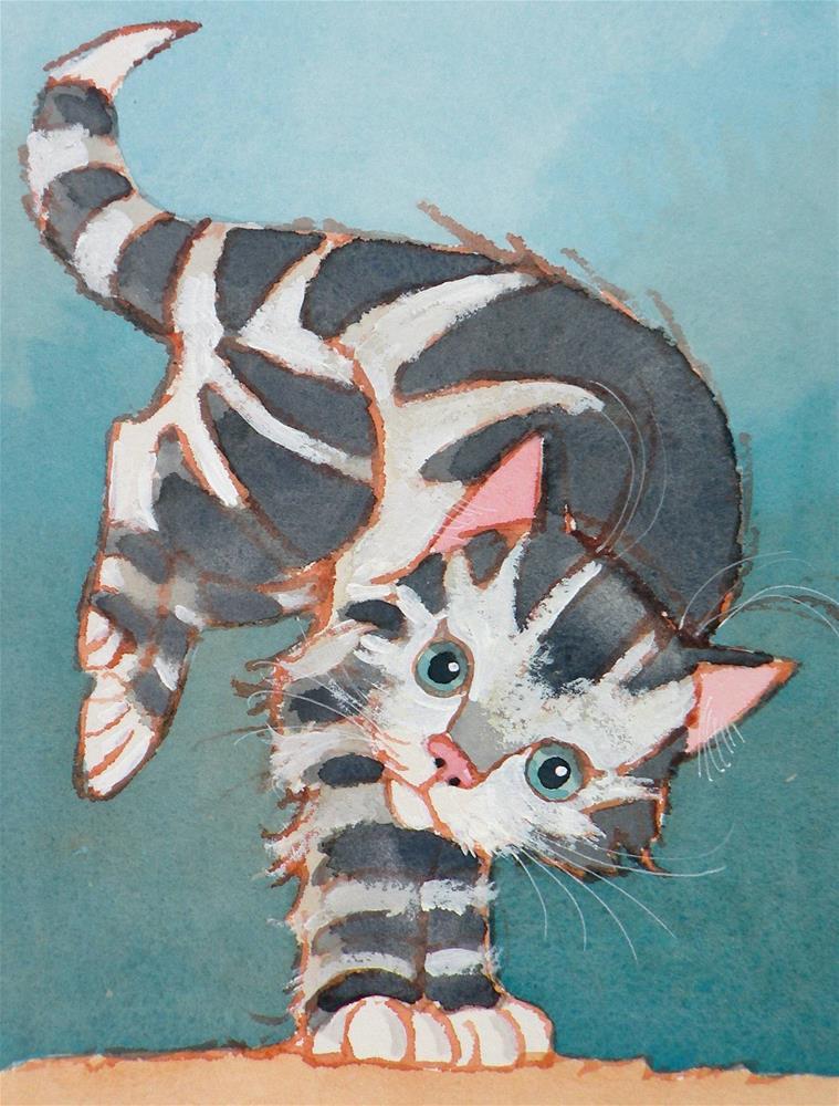 """""""Kitten Kapers"""" original fine art by Toni Goffe"""