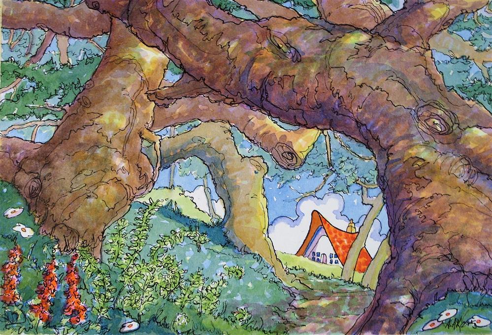 """""""Path by the Old Oaks Storybook Cottage Series"""" original fine art by Alida Akers"""