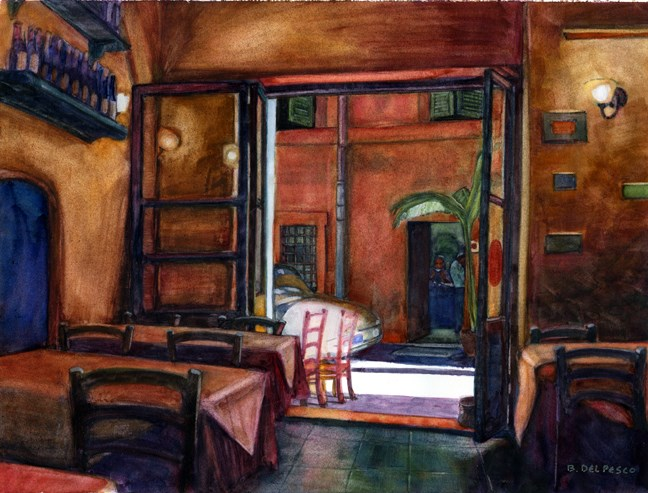 """Watercolors: Cafe & Lavender Field Sketching"" original fine art by Belinda Del Pesco"