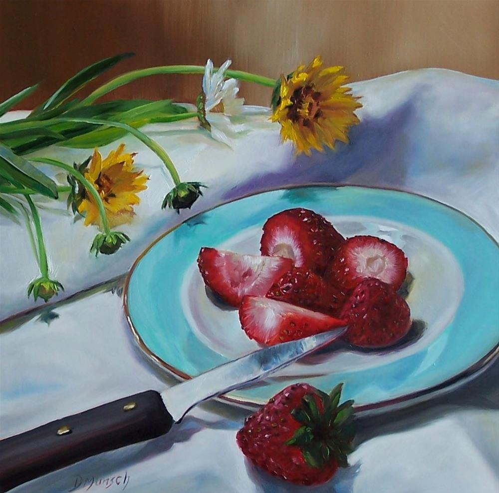 """Cut Strawberries Daisies"" original fine art by Donna Munsch"