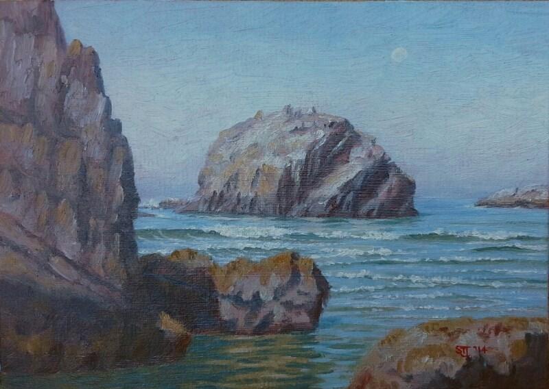 """C1569 Morning & Rising Tide (Face Rock from Cathedal Rock, Bandon, Oregon Coast)"" original fine art by Steven Thor Johanneson"