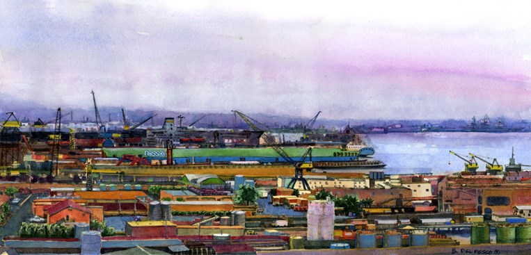 """Watercolor: Nassco Shipyard (& writing about art on a blog)"" original fine art by Belinda Del Pesco"