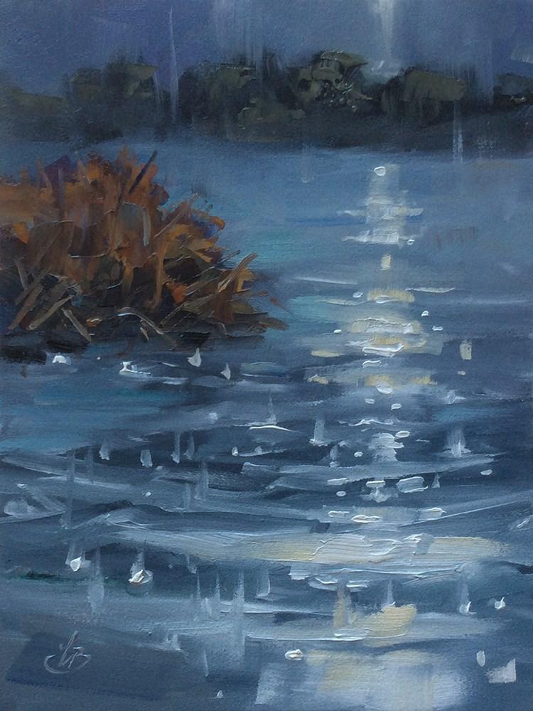 """RAIN ON THE POND AT NIGHT"" original fine art by Tom Brown"