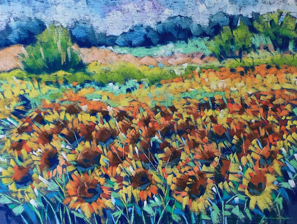 """Sunflower Field 2"" original fine art by Mary Anne Cary"