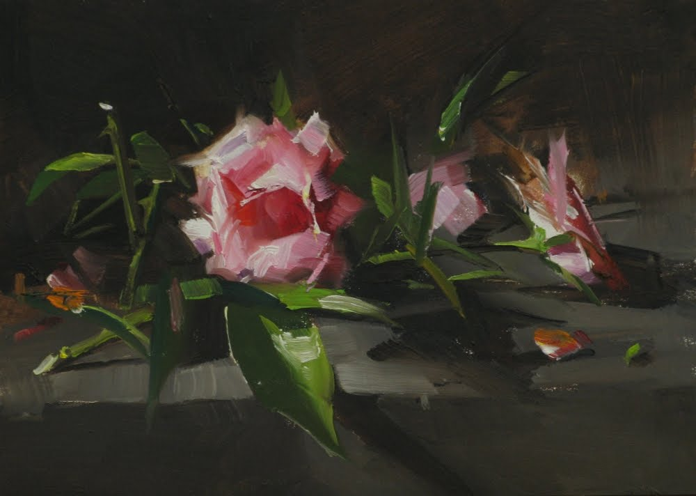 """""""Roses in a Hot Place"""" original fine art by Qiang Huang"""