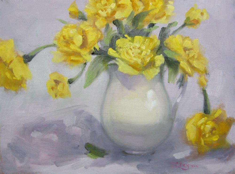 """Yellow Carnations"" original fine art by Maresa Lilley"