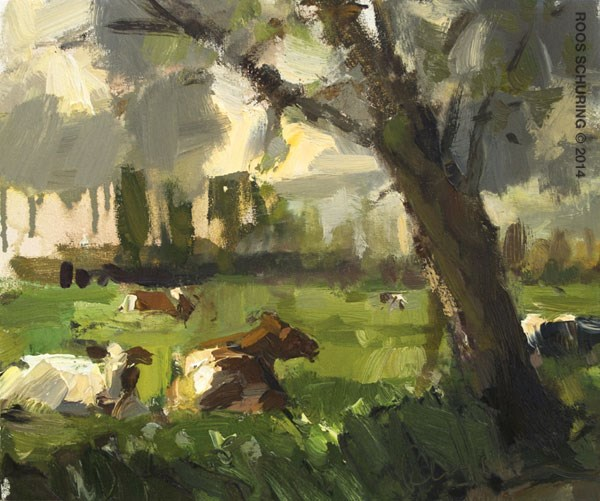 """""""Cows before the rain"""" original fine art by Roos Schuring"""