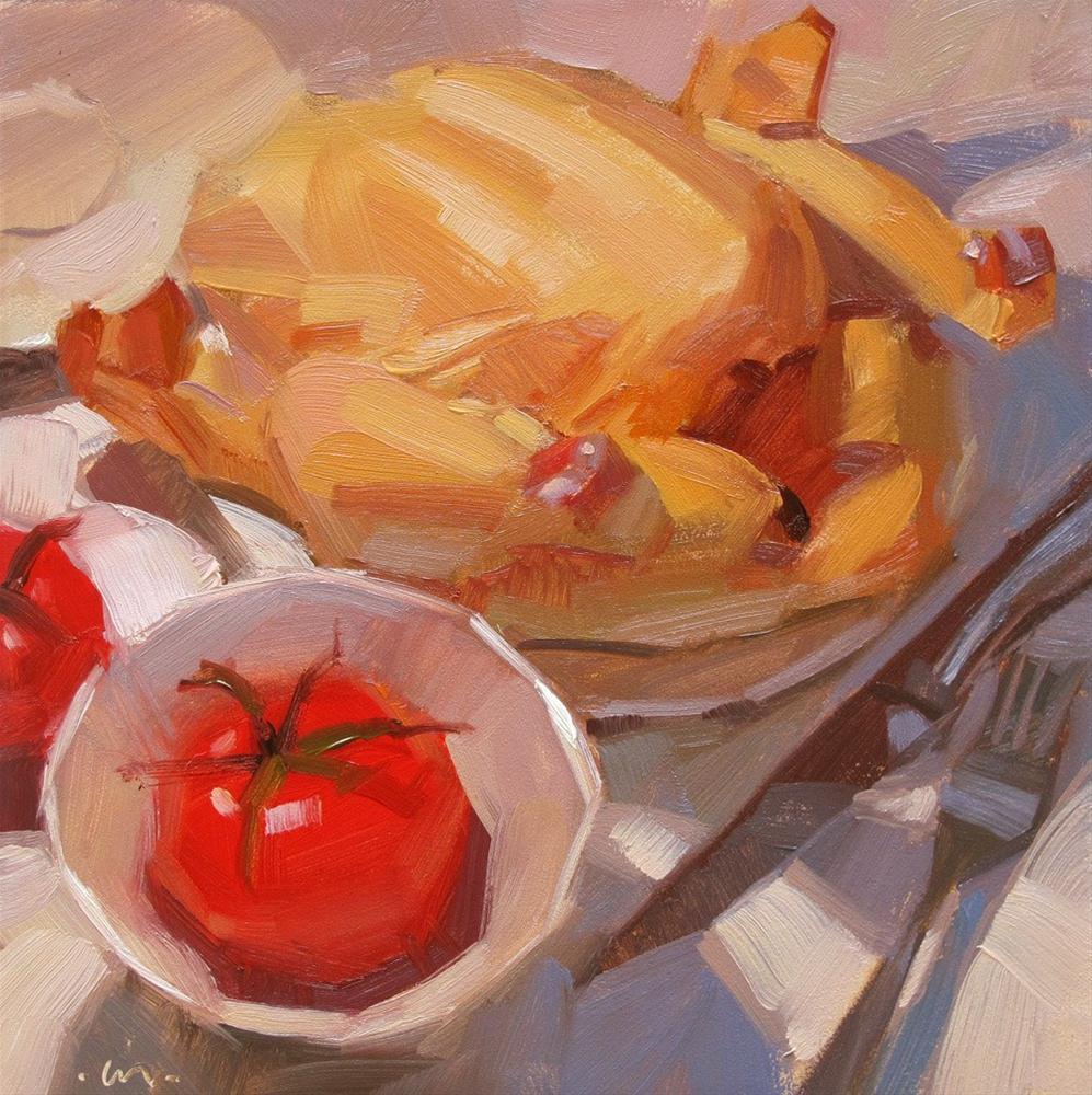 """""""Chicken for Dinner"""" original fine art by Carol Marine"""