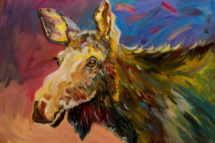 """""""ARTOUTWEST Diane Whitehead Wild Moose Wildlife"""" original fine art by Diane Whitehead"""