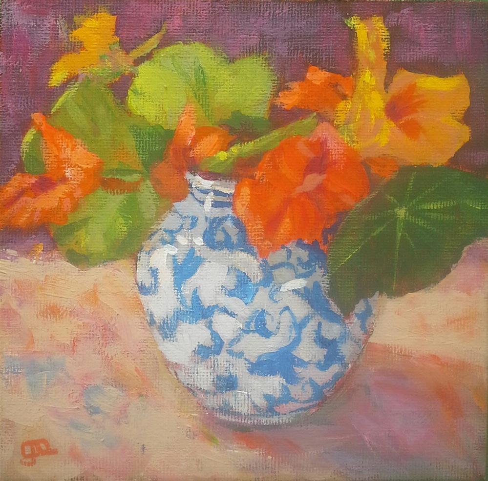 """""""Nasturtiums"""" original fine art by Leanne Owen"""