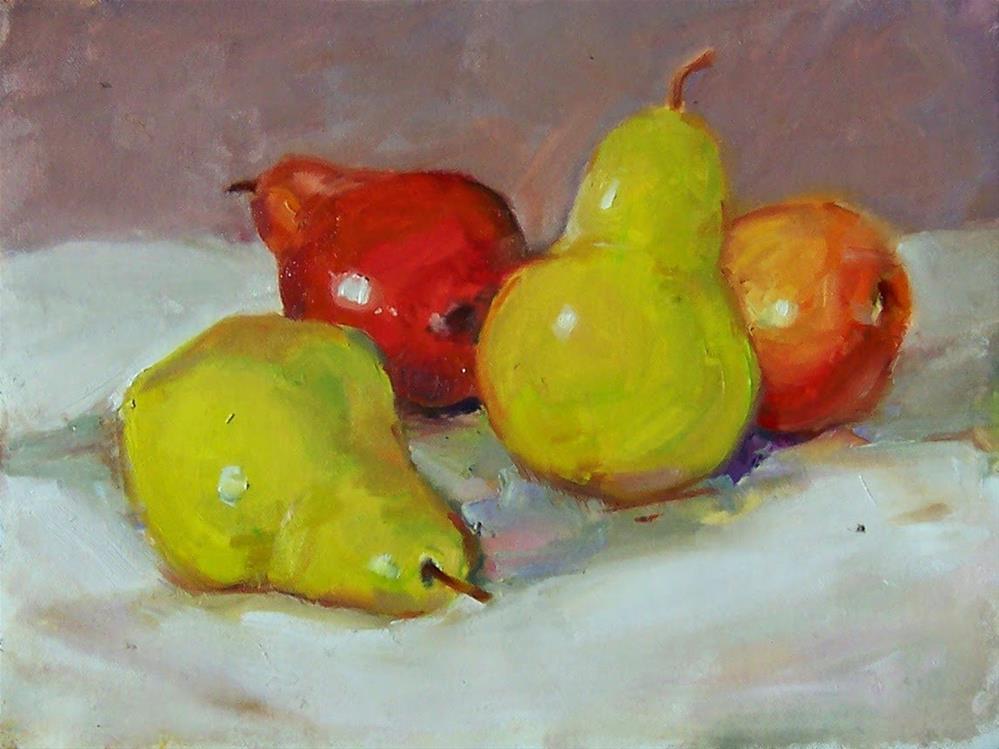 """Four Pears,still life,oil on canvas,8x10,priceNFS"" original fine art by Joy Olney"
