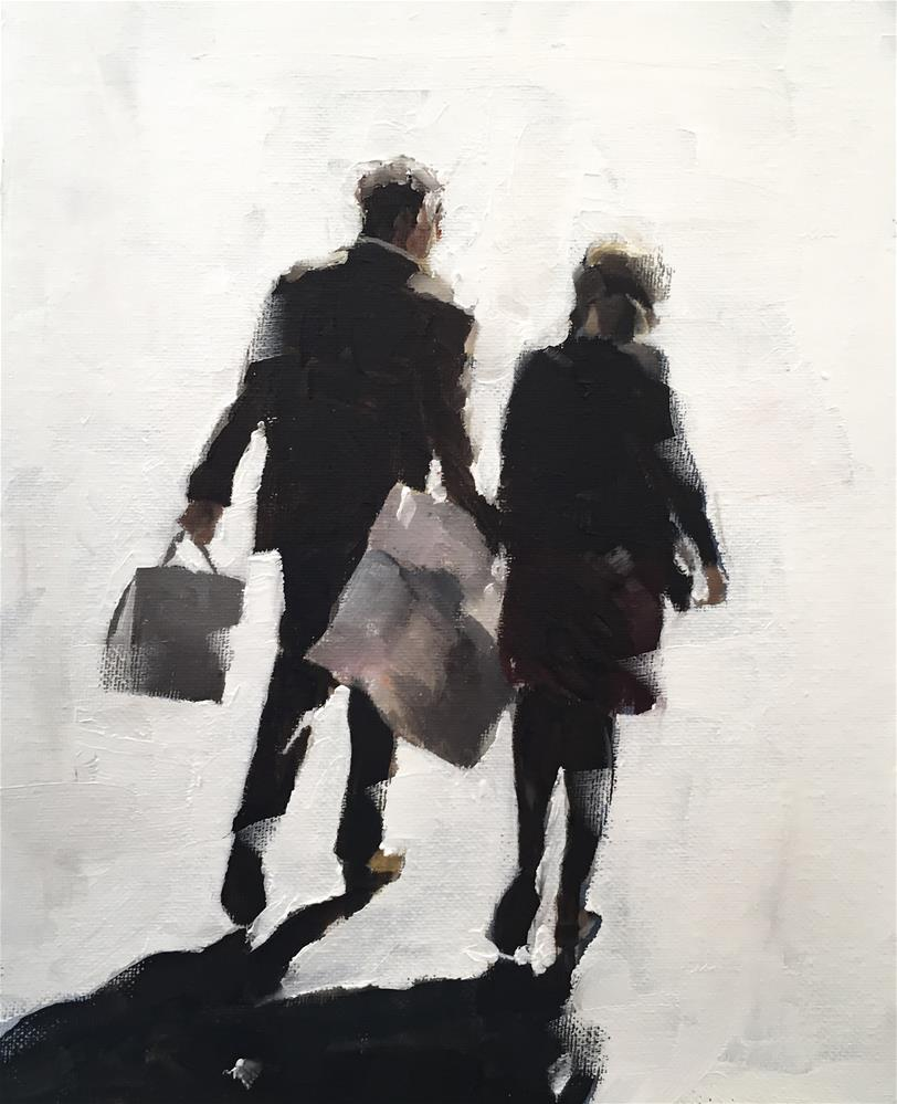 """Shoppers"" original fine art by James Coates"