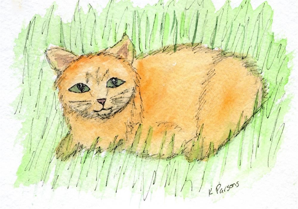 """Pug in the Grass"" original fine art by Kali Parsons"
