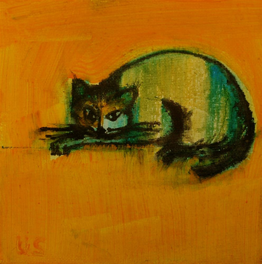 """Cat (yellow background)"" original fine art by Ulrike Schmidt"