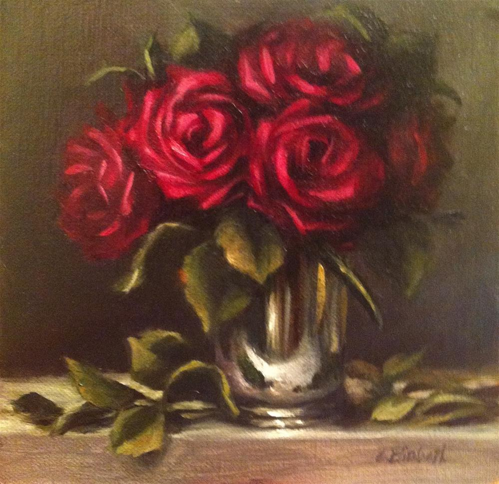 """Red Roses in Mint Julep Cup,  Oil on 6x6 Linen Panel"" original fine art by Carolina Elizabeth"