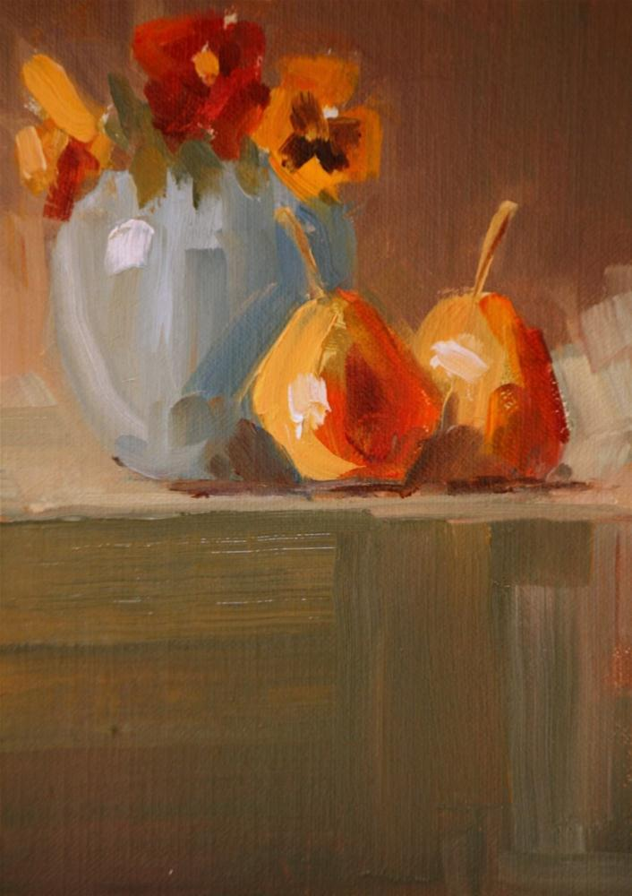 """""""forelle pears and pansies"""" original fine art by Carol Carmichael"""