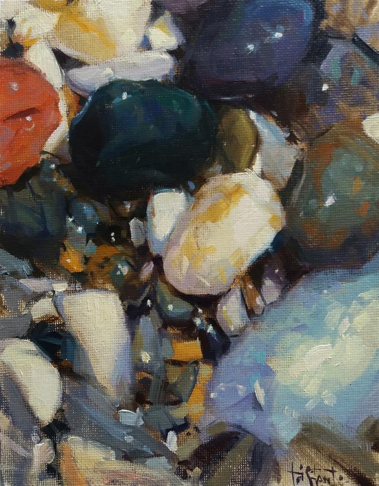 """Beach stones"" original fine art by Víctor Tristante"