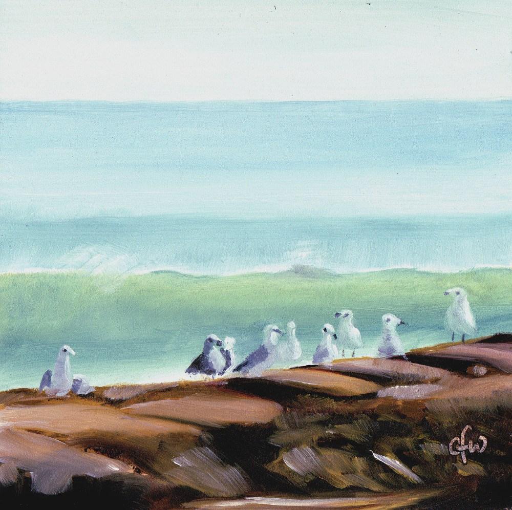 """Seagulls on the Shore"" original fine art by Gary Westlake"