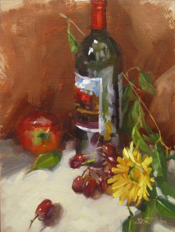 """Wine Bottle Demo"" original fine art by Karen Werner"