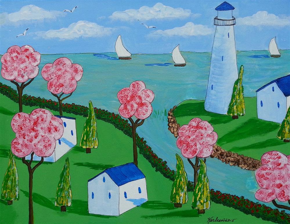 """Lighthouse and Cottages"" original fine art by Karleen Kareem"