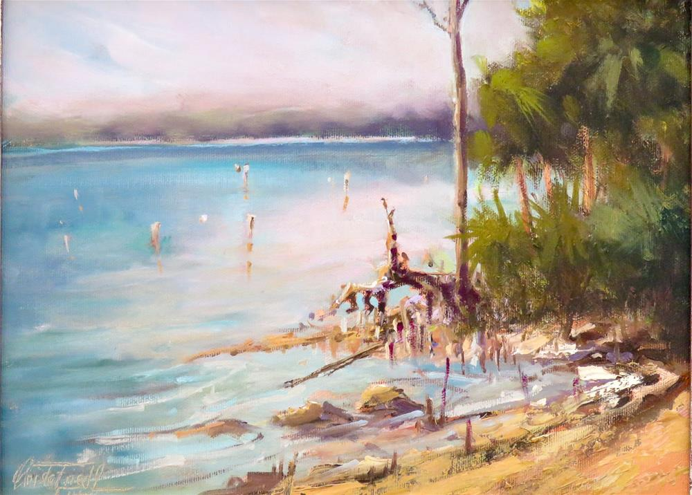 """View to Indian Pass Florida"" original fine art by Christa Friedl"