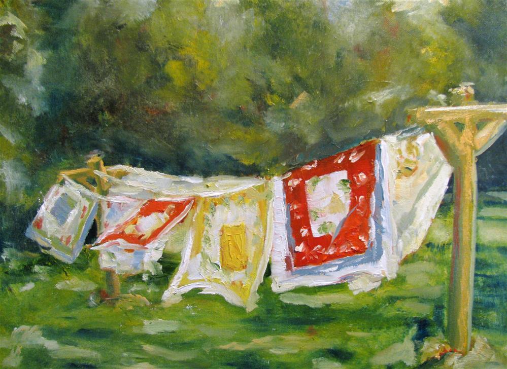 """Vintage Linens out to Dry http://fineartamerica.com/featured/vintage-linens-out-to-dry-susan-e-jones.html"" original fine art by Susan Elizabeth Jones"