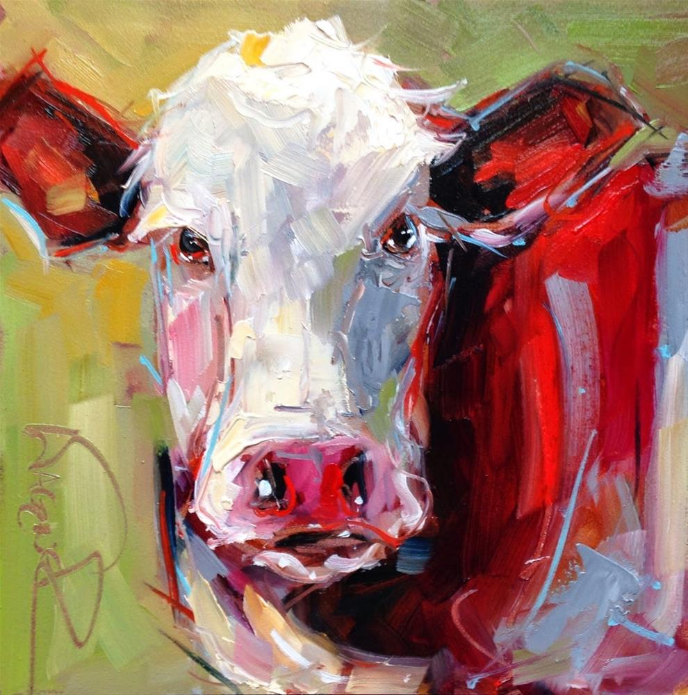 """""""CONTEMPORARY ABSTRACT COW in OILS by OLGA WAGNER"""" original fine art by Olga Wagner"""